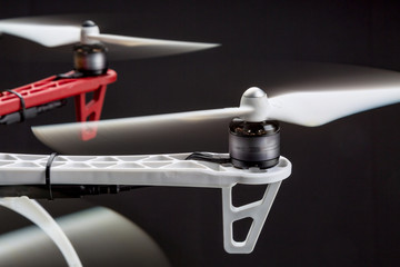 blurred rotors of a drone