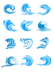 Blue sea and ocean waves set