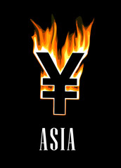 Flaming yen currency symbol