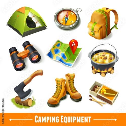 Aluminium Kamperen Camping icons set