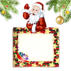 Santa Claus with green blank sign
