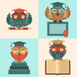 Owls in graduation caps set flat