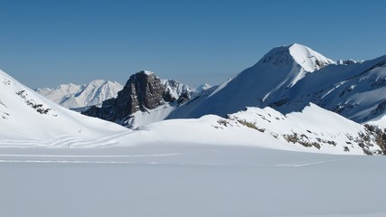Scenery on the Glacier De Diablerets, peaks