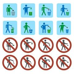Litter icons set