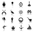 Nautical icons set black - 73636280