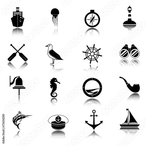 Nautical icons set black - 73636280