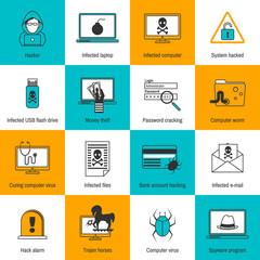 Hacker Icons Flat Line
