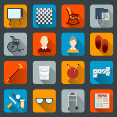 Pensioners life icons flat