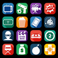 Action Movie Icons Set