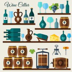 Wine cellar icons