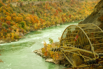 scenic view of Niagara river with aero car