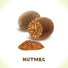 Nutmeg nut isolated on white