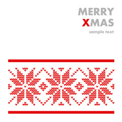 Modern winter knitted christmas card, nordic pattern, vector
