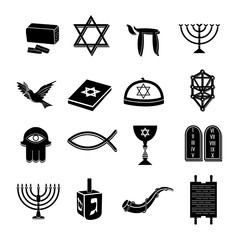 Judaism icons set black