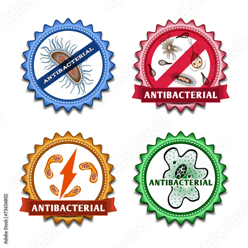Leinwanddruck Bild Antibacterial badges set