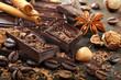 Dark chocolate with coffee beans cinnamon and star anise