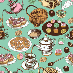 Teapot and cup seamless pattern