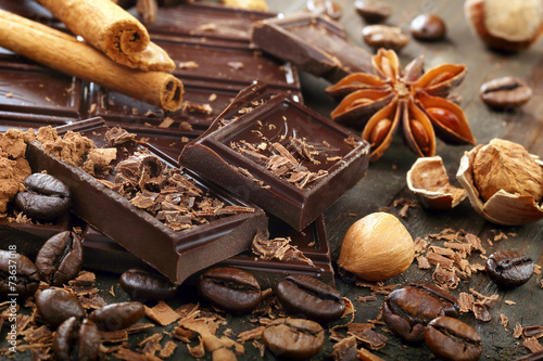 Dark chocolate with coffee beans cinnamon and star anise