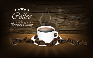 Coffee vector background with cup and coffee bean