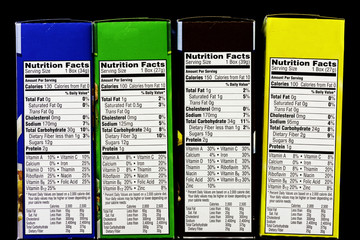 Cereal Nutritional facts label