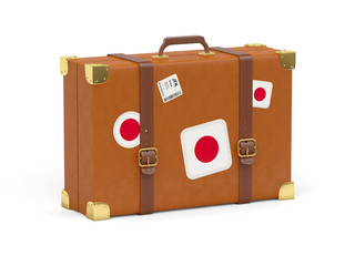 Suitcase with flag of japan