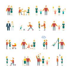 Family icons set flat