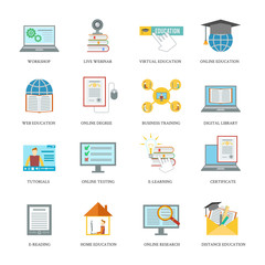 Online education icon set