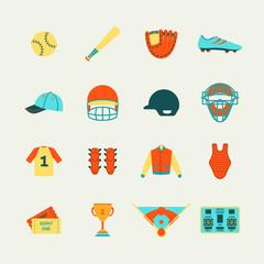 Baseball icons set flat