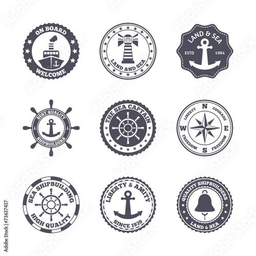 Sea port label set - 73637437