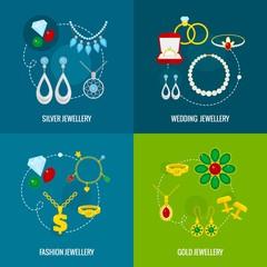 Jewelry icon flat set