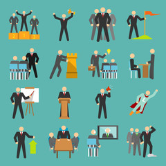 Leadership icons flat