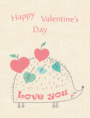 Happy Valentine's Day card with hedgehog