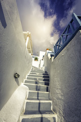 Traditional steps leading to house in Santorini Island, Greece