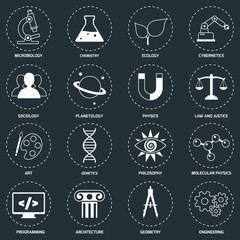 Science areas icons white