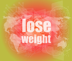 social concept: lose weight words on digital screen, 3d