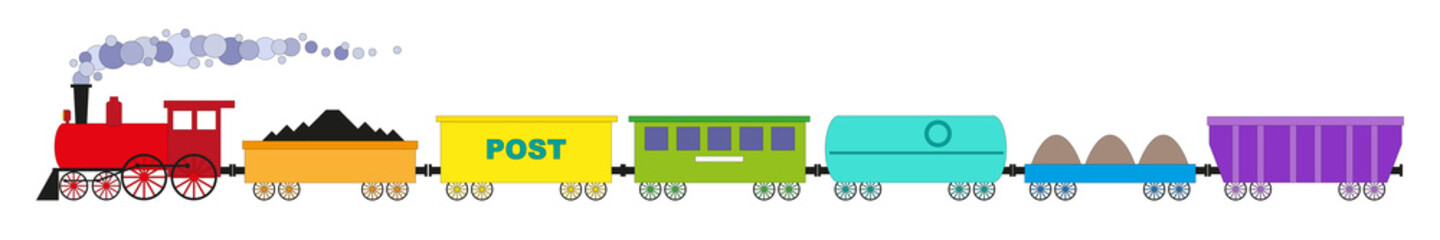 The train of seven colorful cars and locomotive