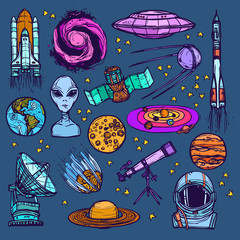Space sketch set colored