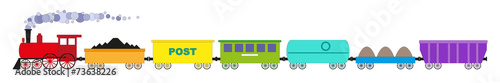 The train of seven colorful cars and locomotive - 73638226