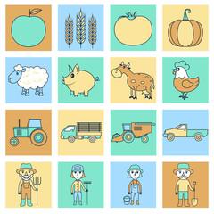 Farm icons set flat line