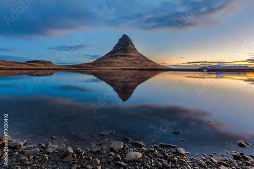 Kirkjufell and reflection in sunrise, Iceland
