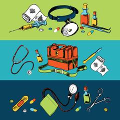 Medicine sketch icons color set