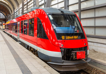 A diesel suburban train in Kiel Central Station - Germany