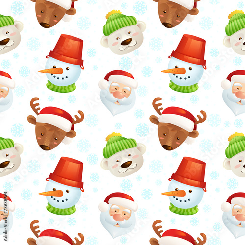 Materiał do szycia Christmas characters seamless pattern