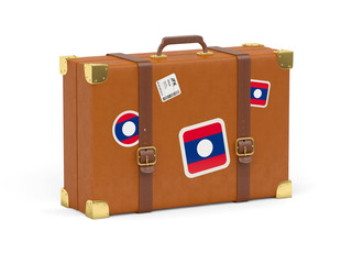 Suitcase with flag of laos