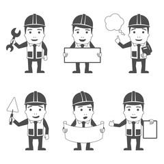 Builder characters set black