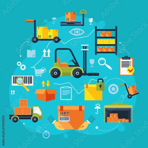 Warehouse icons flat - 73639054