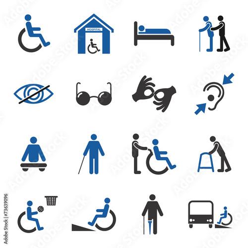 Leinwanddruck Bild Disabled icons set