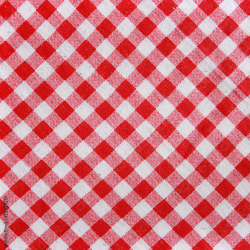Tuinposter Stof Texture of a red checkered picnic blanket.
