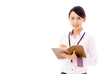 asian businesswoman on white background