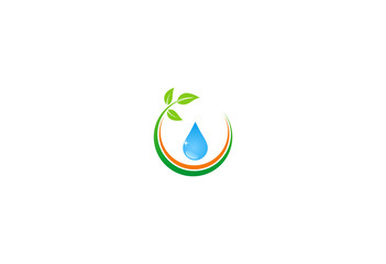 clean water drop plant ecology vector logo